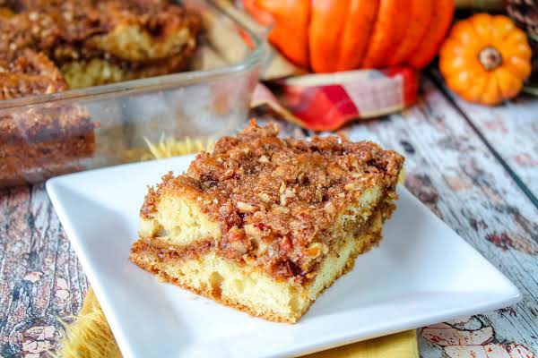 Layers Of The Sour Cream Pumpkin Coffee Cake With Pecan Streusel.