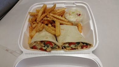 Photo: Cheesy Spinach, Chicken and Tomato Wrap with Fries and Slaw