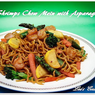 Shrimps Chow Mein with Asparagus.