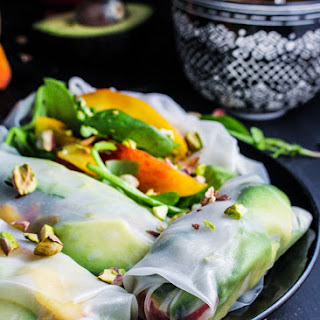 Peach and Avocado Summer Rolls