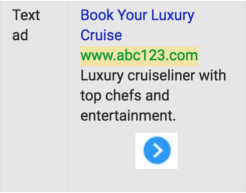 Imagen de un anuncio de texto