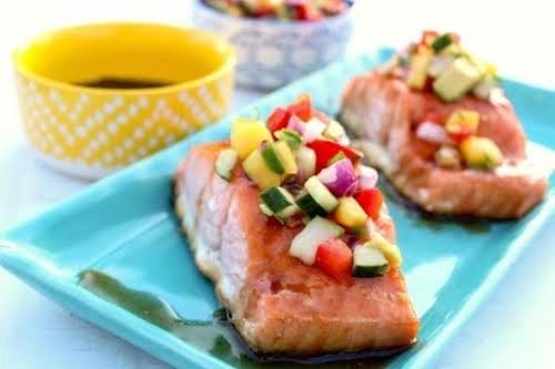 "Click Here for Recipe: Glazed Salmon with Mango Salsa ""This is an..."