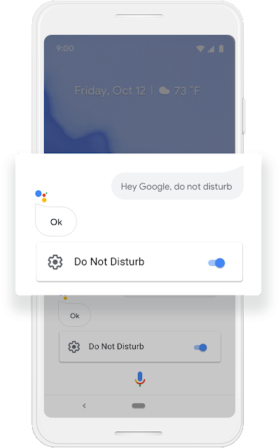 "A Google phone screen showing a conversation with Google Assistant where the user says ""Hey Google, do not disturb,"" Assistant responds with ""Ok,"" and then the Do Not Disturb mode is activated."