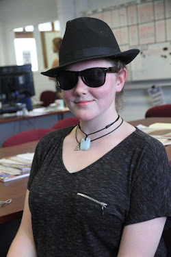 Narrabri High School Lillia Schlack in the Blues Brothers costume she wore at the Schools Spectacular.