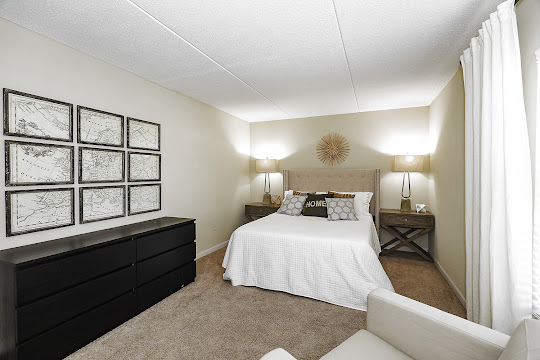 Model bedroom with brown carpet and light walls