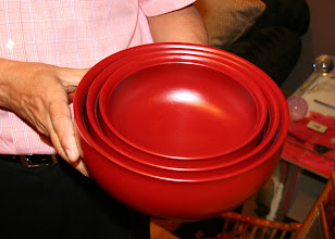 Photo: Three nested, red-lacquer bowls by Yoshinari Satake, from the 2007 Portland AAW Symposium