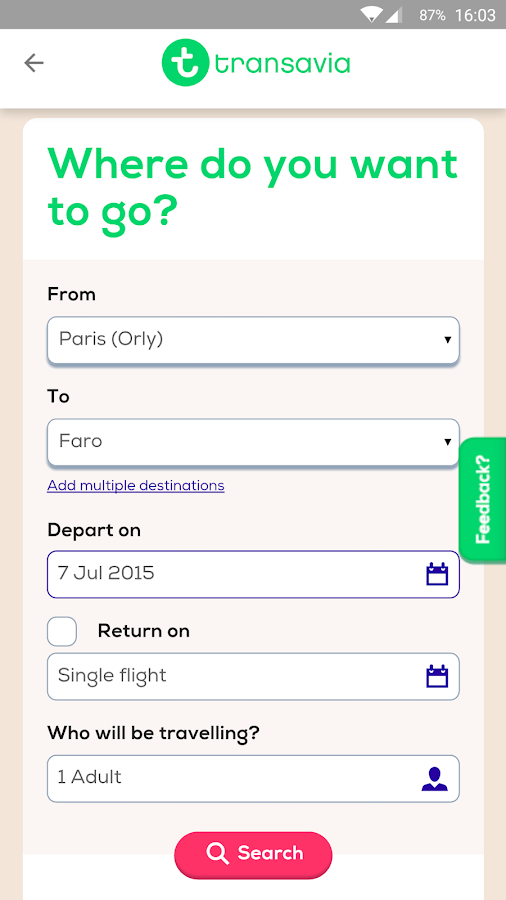 Transavia- screenshot