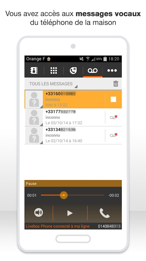 Livebox Phone – Capture d'écran