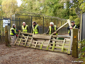 Photo: Following damage by a young man in a car being chased by the Police, the Great Gate had to be repaired.