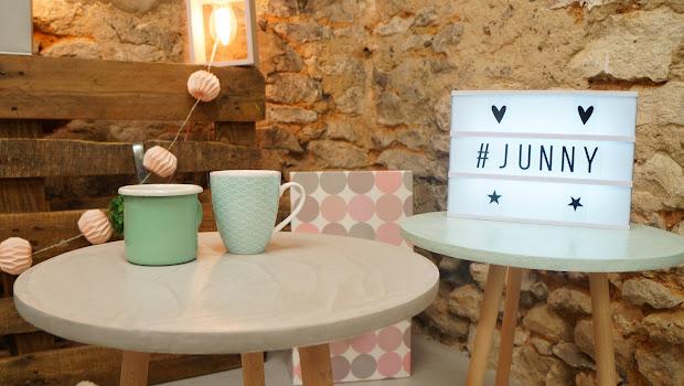table d'appoint en béton fait-main en atelier français Junny