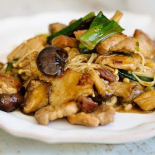 Wok-fried Pork Belly And Mushrooms.