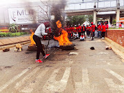 EFF students protest outside the Mangosuthu University of Technology in Durban on Tuesday.
