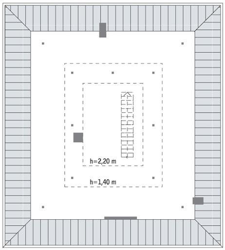 Wykonany - C288 - Rzut poddasza do indywidualnej adaptacji (36,7 m2 powierzchni użytkowej)