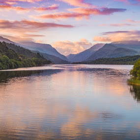 Llyn Padarn by Jim Keating - Landscapes Waterscapes ( mountains, wales, trees, snowdonia, lake, sunrise,  )