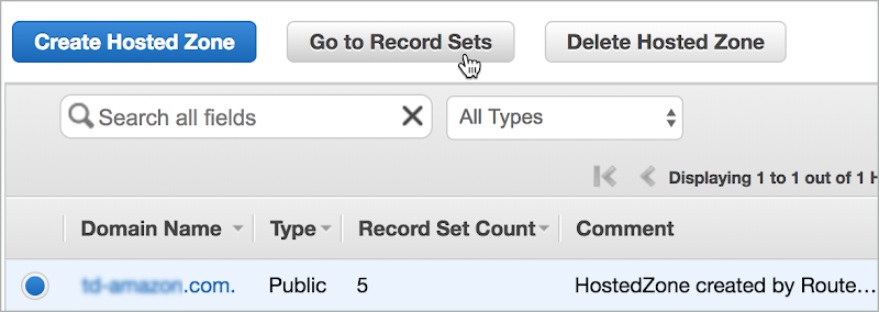 The domain is selected and Go to Record Sets is selected