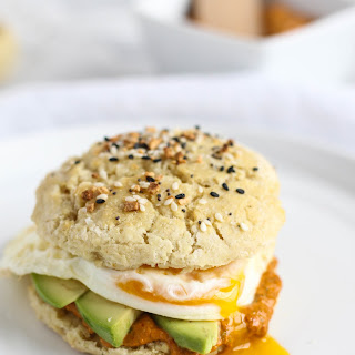 Everything Biscuit Breakfast Sandwiches with Roasted Red Pepper Spread.