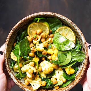 Vegan Spiced Chickpea & Cauliflower Spinach Salad.
