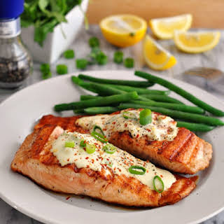 Grilled Salmon Fillets with Wasabi & Lemon Cream Sauce.