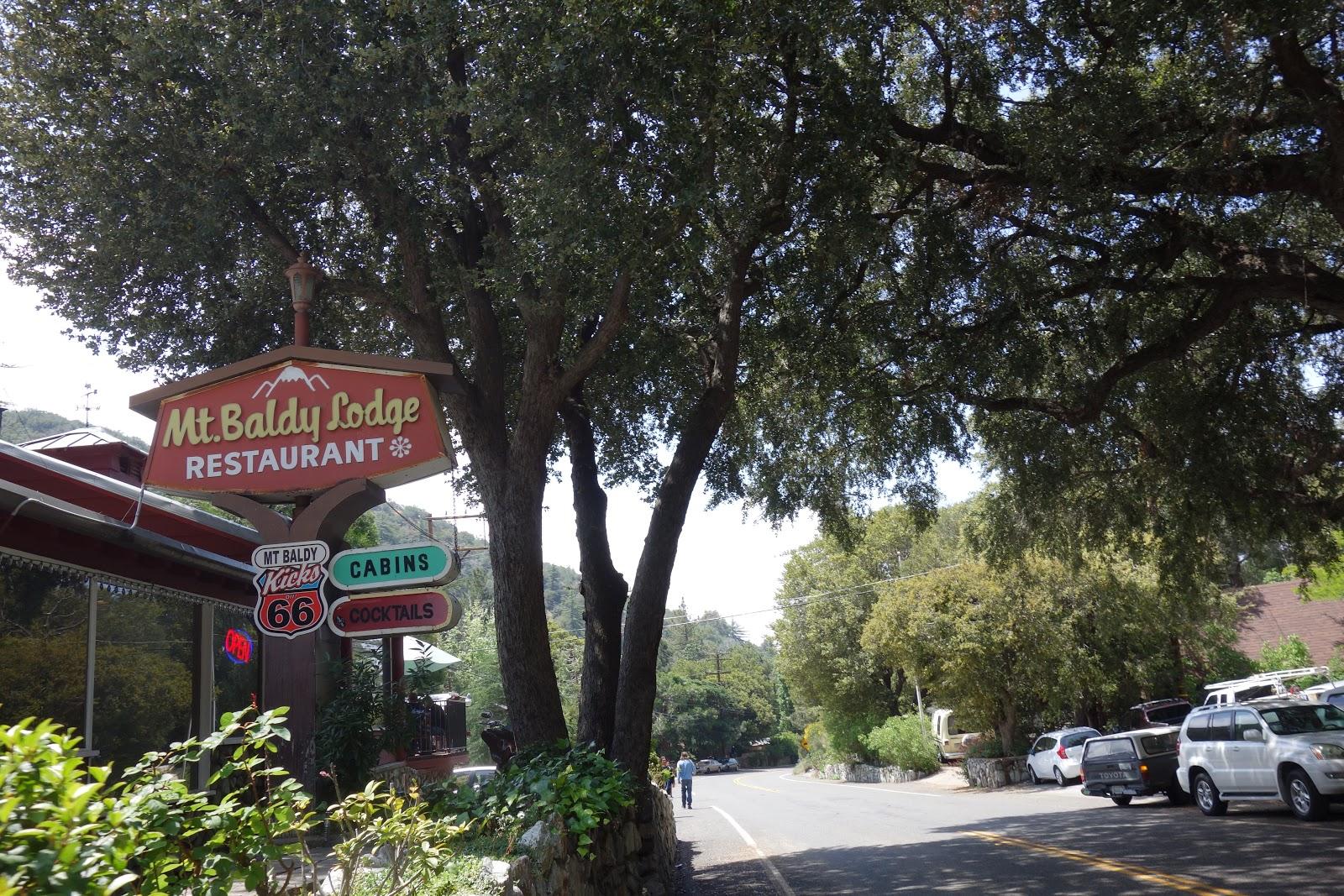 Restaurant sign - Mt Baldy Lodge Restaurant on climb by bike to Mt Baldy - Mt Baldy Village
