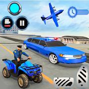 US Police limousine Car Quad Bike Transporter Game