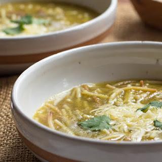 Sopa de Fideo Verde (Green Spaghetti Soup).
