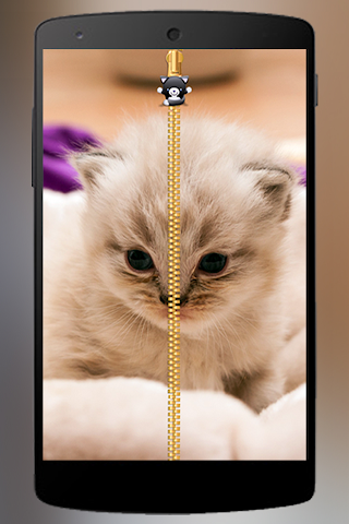 android Lovely Cat Zipper Lock Screenshot 2