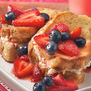 Cream Cheese French Toast Bake with Strawberry Topping.