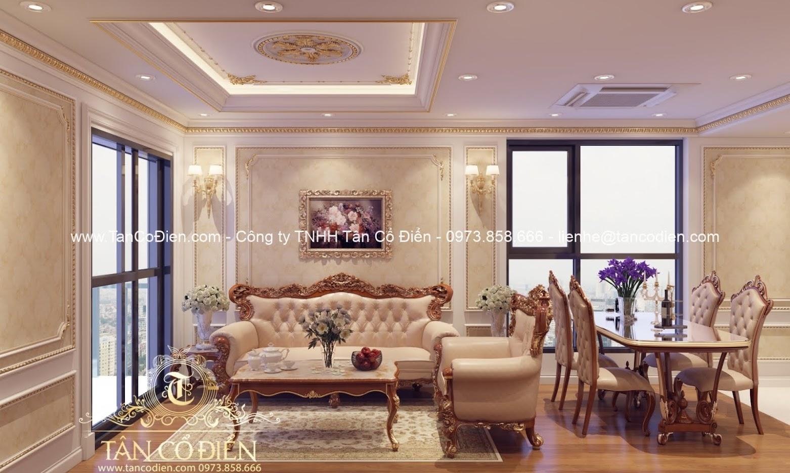 Thiết kế nội thất phòng khách biệt thự tân cổ điển