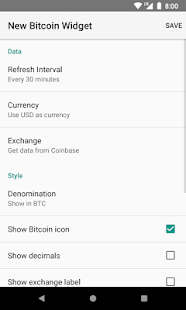 Simple Bitcoin Widget - náhled