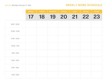 Starting Schedule - Weekly Planner Template