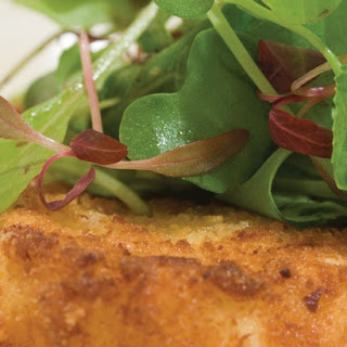 Microgreens with Fried Goat Cheese.