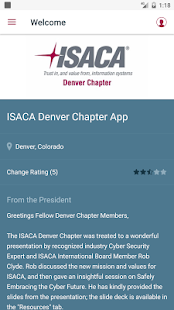 ISACA Denver Chapter App- screenshot thumbnail