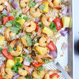 Sheet Pan Hawaiian Shrimp and Rice Dinner.