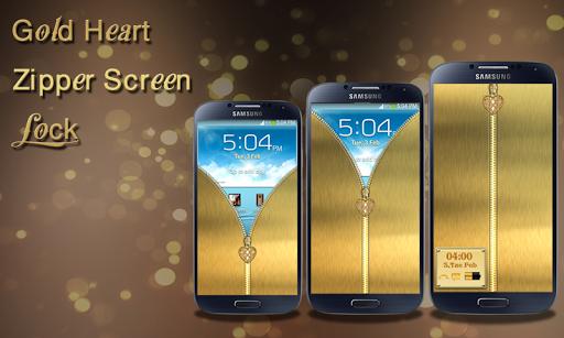 Gold Heart Zipper Screen Lock