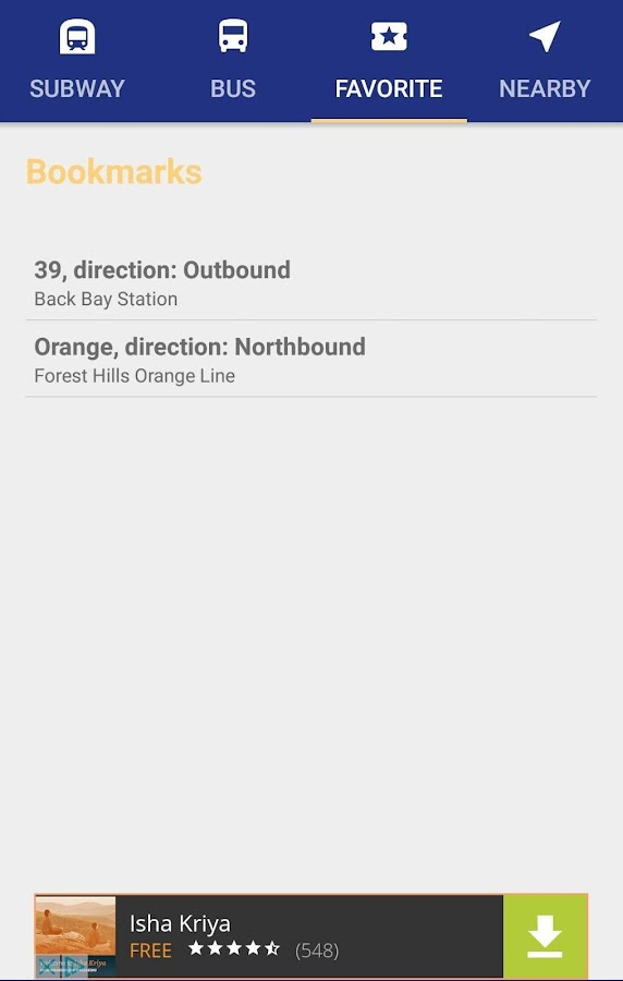 MBTA Bus & Subway Tracking- screenshot
