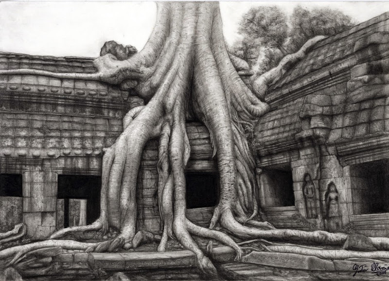 "Photo: ""Angkor Wat"" pencil drawing  Author: Gaston Nicolas Alanis"