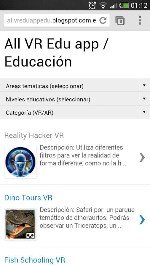 All VR Edu app: captura de pantalla