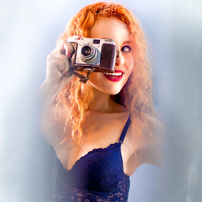 Natalia - Hobix by Gabriel Fox - People Portraits of Women ( redhead, sensual, woman, pose, sexy, hobix, girl, portrait, vintage, ginger, curly hair, 50s, camera,  )