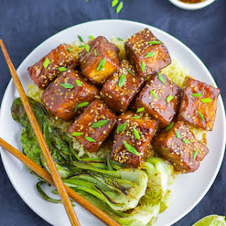 Soy-Brown Sugar Glazed Pan-fried Tofu.