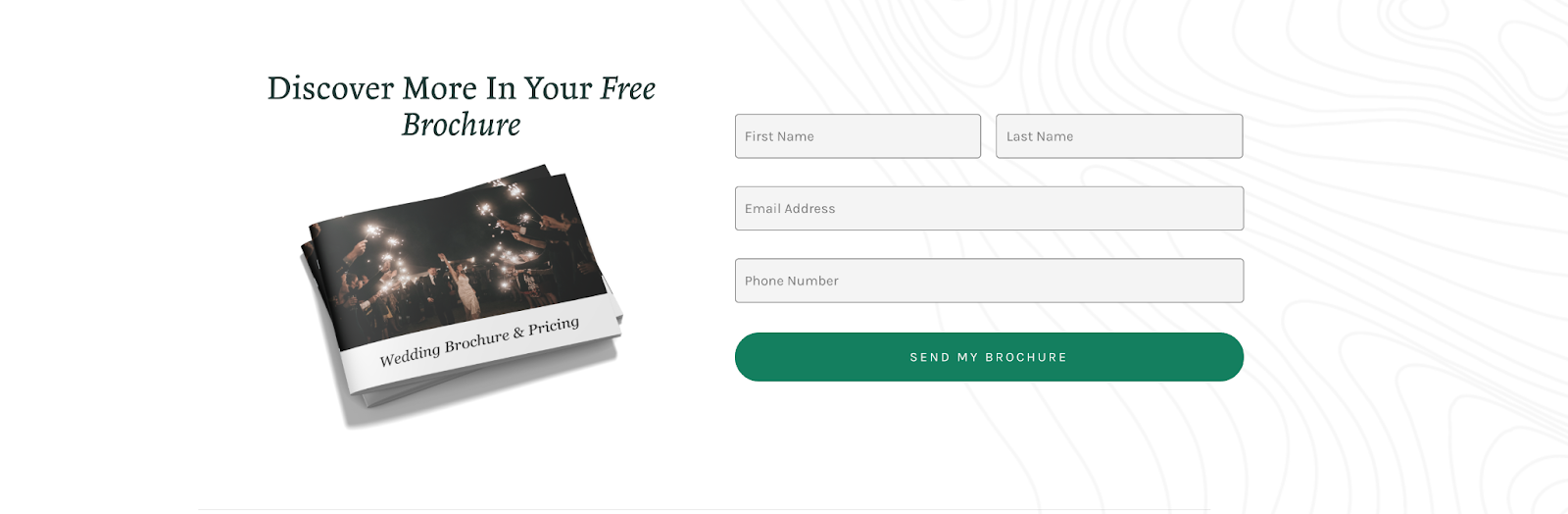 wedding venue website call to action: Get your free brochure 2