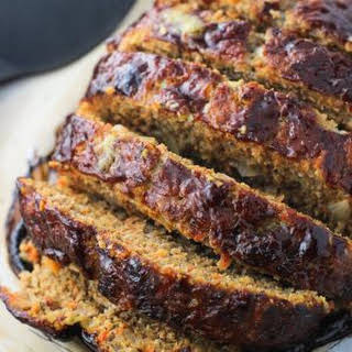 Balsamic Meatloaf with Sauteed Vegetables.