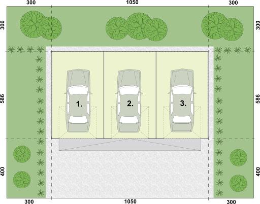 GB54 Garaż Blaszany Trzystanowiskowy - Rzut przyziemia