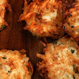 Potato-Turnip Latkes Fried in Duck Fat