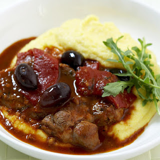 Garlicky Lamb with Roasted Peppers and Polenta