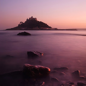 St Micheal's mount - Cornwall by Aaron Nappin - Landscapes Waterscapes ( water, pebble, sea, rock, ocean, cornish, blur, dusk, cornwall, landmark, england, st. micheal's mt, nature, sunset, tide, summer, long exposure, causeway, evening, slow shutter )