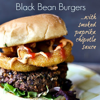 Roasted Sweet Potato Black Bean Burgers with Smoked Paprika Chipotle Sauce