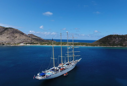 Star Flyer anchored in Frigate Bay, St. Kitts and Nevis.