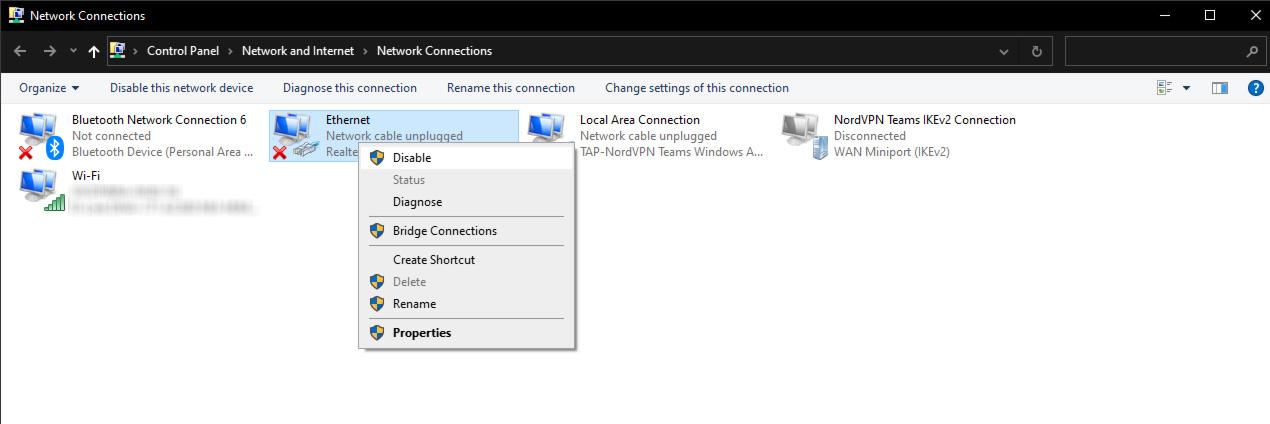 central de rede e compartilhamento do windows