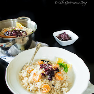 One Pot Coconut Rice with Prawns topped with Caramelized Onion.