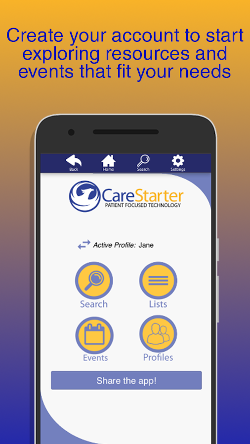 CareStarter- screenshot
